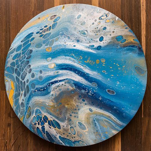 Ingrid TROLP, Blauer Planet, Abstraktes, Diverse Weltraum, Gegenwartskunst