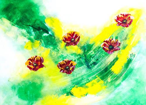Ingrid TROLP, Roter Mohn, Abstraktes, Pflanzen: Blumen, Gegenwartskunst