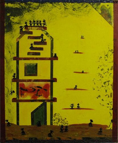Manuel Süess, Nr. 734 Tanzparty auf der Turmspitze, Diverse Menschen, Gefühle: Freude, Abstrakter Expressionismus