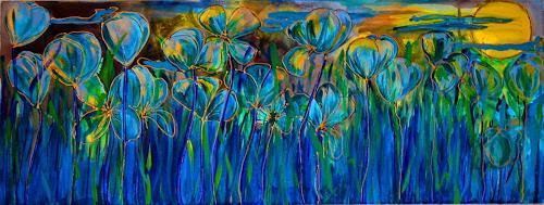 Katharina Orlowska, Sommernacht, Pflanzen: Blumen, Expressionismus