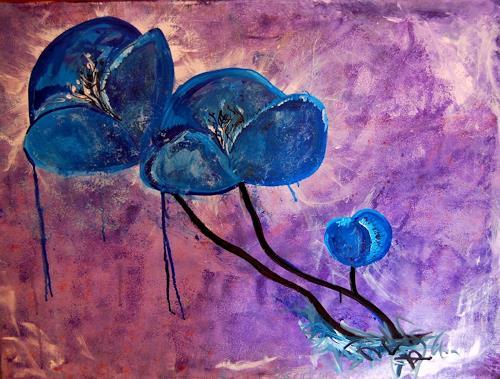 Katharina Orlowska, Blue Moonflowers, Pflanzen: Blumen