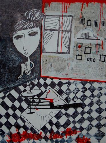 Katharina Orlowska, Waiting for the past ..., Gefühle: Trauer, Menschen: Frau, Abstrakter Expressionismus