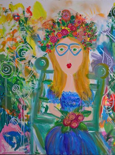 Katharina Orlowska, Midsommar, Menschen: Frau, Pflanzen: Blumen, Abstrakter Expressionismus, Expressionismus