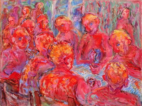Vasiliy Tsabadze, The feast, Party/Feier, Menschen: Gruppe, Postimpressionismus, Expressionismus