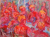 Vasiliy-Tsabadze-Party-Feier-Menschen-Gruppe-Moderne-Impressionismus-Postimpressionismus