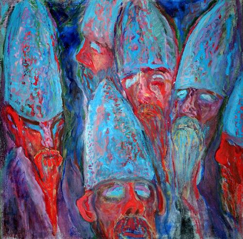 Vasiliy Tsabadze, The monks, Menschen: Gesichter, Religion, Symbolismus, Abstrakter Expressionismus