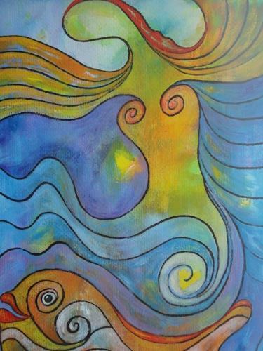 e.w. bregy, meerjungfrau, Fantasie, Abstrakter Expressionismus