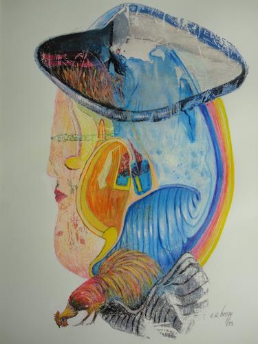 e.w. bregy, walliser trachtendame, Technik, Fantasie, Abstrakter Expressionismus