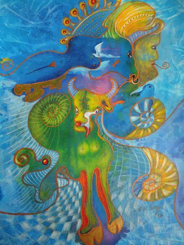 e.w. bregy, hommage à hundertwasser, Fantasie, Gegenwartskunst, Expressionismus