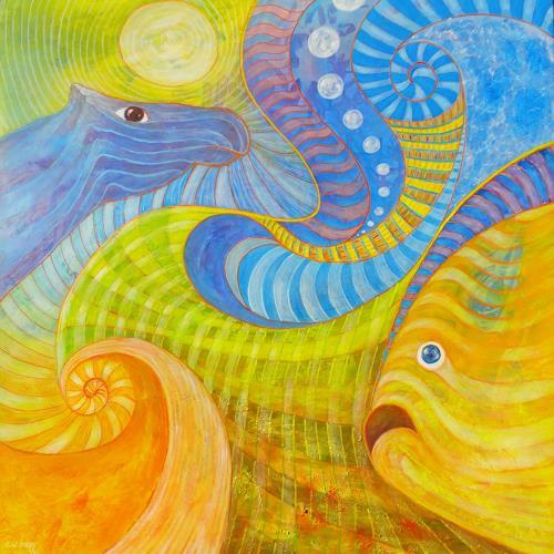 e.w. bregy, die linde & die 4 elemente, Fantasie, Gegenwartskunst, Expressionismus