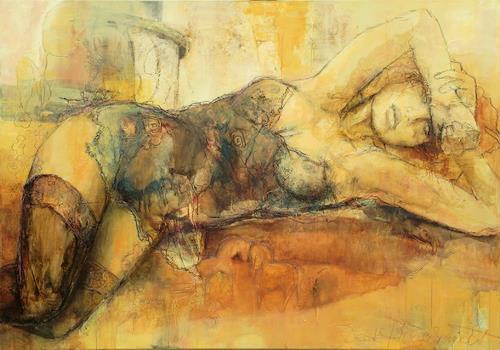 Beate Hildebrandt, Liegende, Akt/Erotik: Akt Frau, Diverse Gefühle, Gegenwartskunst, Expressionismus