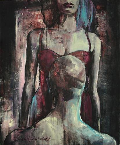 Beate Hildebrandt, Erotische Begegnung, Diverse Erotik, Menschen: Paare, Gegenwartskunst, Abstrakter Expressionismus