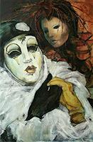 Beate-Hildebrandt-Karneval-Menschen-Gesichter-Gegenwartskunst--Gegenwartskunst-