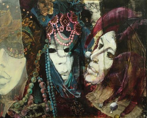 Beate Hildebrandt, Festival der Masken, Karneval, Menschen: Gesichter, Gegenwartskunst, Abstrakter Expressionismus