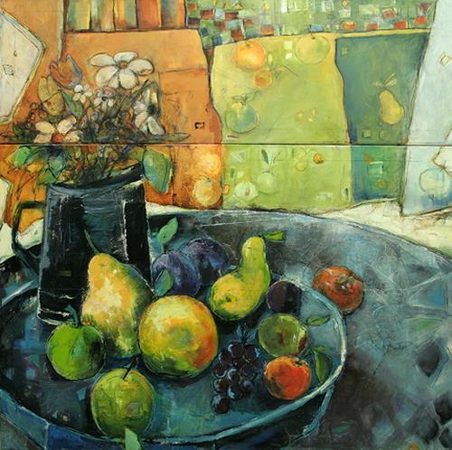 Beate Hildebrandt, Früchtemix, Essen, Stilleben, Gegenwartskunst, Expressionismus