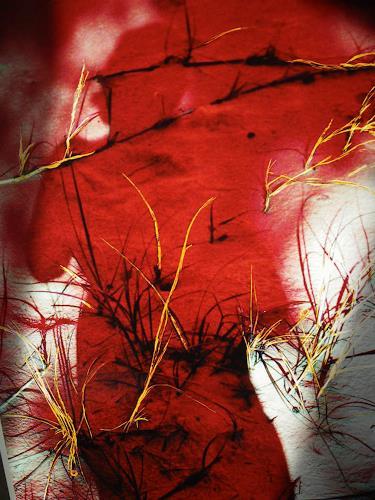 Brigitte Raz-Goldau, Schattenporträt rot, Fantasie, Gegenwartskunst, Abstrakter Expressionismus