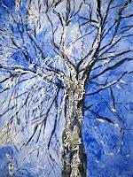 Brigitte-Raz-Goldau-Landschaft-Winter-Pflanzen-Baeume-Gegenwartskunst--Gegenwartskunst-