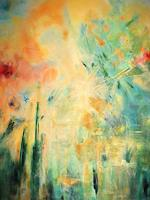 Brigitte-Raz-Goldau-Landschaft-Sommer-Fantasie-Gegenwartskunst--Gegenwartskunst-