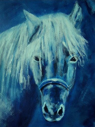Brigitte Raz-Goldau, Blaues Pferd mit weisser Mähne, Tiere: Land, Märchen, Gegenwartskunst