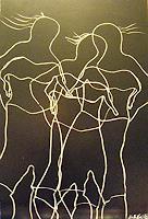 Brigitte-Raz-Goldau-Menschen-Gruppe-Dekoratives-Gegenwartskunst--Gegenwartskunst-