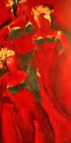 Brigitte Raz-Goldau, Drei Frauen in Rot, Akt/Erotik: Akt Frau, Fashion, Gegenwartskunst