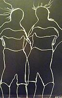 Brigitte-Raz-Goldau-Dekoratives-Menschen-Gruppe-Gegenwartskunst--Gegenwartskunst-
