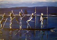 Brigitte-Raz-Goldau-Landschaft-See-Meer-Menschen-Gruppe-Gegenwartskunst--Gegenwartskunst-