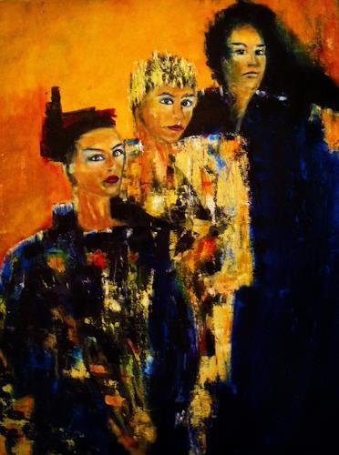 Brigitte Raz-Goldau, Drei Frauen, Gesellschaft, Menschen: Gruppe, Gegenwartskunst, Abstrakter Expressionismus
