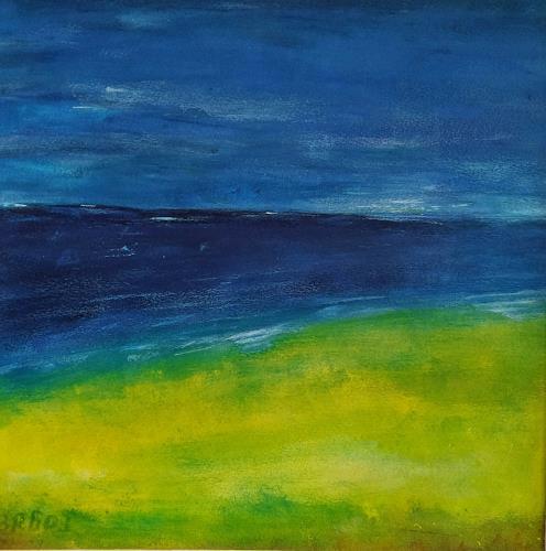 Brigitte Raz-Goldau, Landschaft am Meer, Landschaft: See/Meer, Landschaft: Strand, Gegenwartskunst, Expressionismus