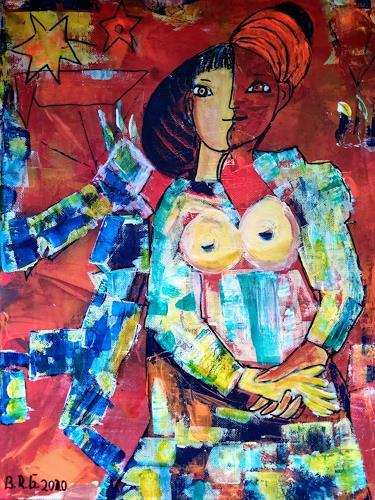 Brigitte Raz-Goldau, Liebespaar 2, Menschen: Paare, Abstraktes, Abstrakte Kunst, Abstrakter Expressionismus