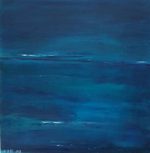 Brigitte Raz-Goldau, Himmel und Wasser, Landschaft: See/Meer, Landschaft: Strand, Gegenwartskunst, Expressionismus