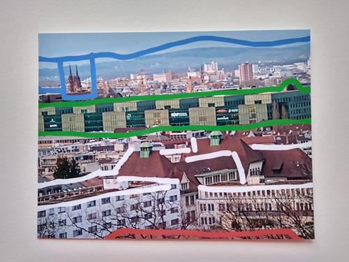 Brigitte Raz-Goldau, Urban landscapes Basel, Arbeitswelt, Landschaft: Winter, Gegenwartskunst