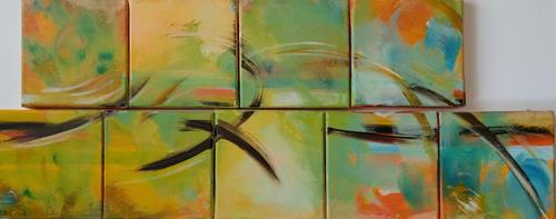 Brigitte Raz-Goldau, Spätsommer, Abstraktes, Fantasie, Abstrakte Kunst