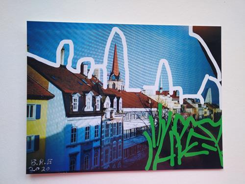Brigitte Raz-Goldau, Urban landscapes Basel, Landschaft: Winter, Bauten, Gegenwartskunst