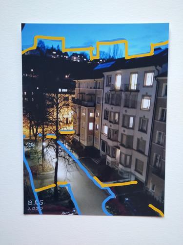 Brigitte Raz-Goldau, Urban landscapes Basel, Landschaft: Winter, Diverse Bauten, Gegenwartskunst, Expressionismus