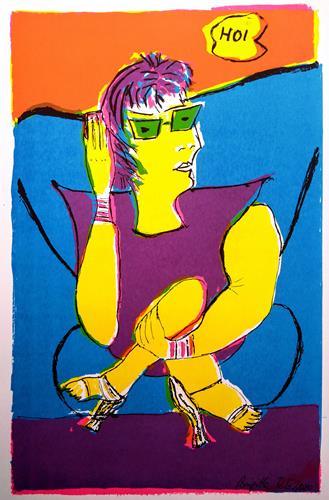 Brigitte Raz-Goldau, Frau im Sessel mit Handy 1, Menschen: Frau, Diverse Menschen, Abstrakte Kunst