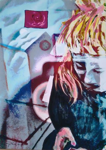 Brigitte Raz-Goldau, Seraphina mit Handy, Menschen: Frau, Abstraktes, Informel, Abstrakter Expressionismus