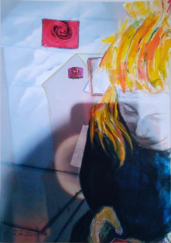 Brigitte Raz-Goldau, Seraphina mit Handy 2, Menschen: Frau, Abstraktes, Informel