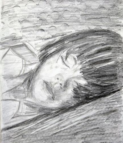 Brigitte Raz-Goldau, Schlafendes Mädchen, Menschen: Gesichter, Menschen: Porträt, Gegenwartskunst