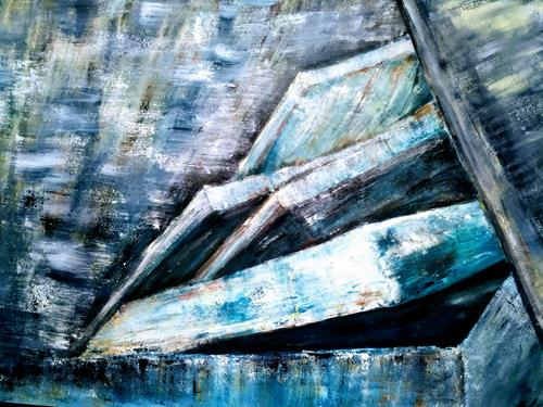 Brigitte Raz-Goldau, Felsengestein im Tessin 1- 2 Nr. 2, Natur, Landschaft: Berge, Expressionismus