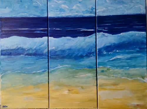 Brigitte Raz-Goldau, Ferienerinnerungen 1 - 3 Nr.3, Landschaft: See/Meer, Natur: Wasser, Gegenwartskunst