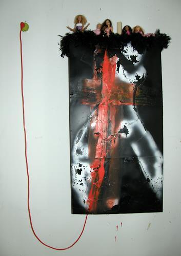 OMAR, Wandobjekt INTIME DISTANZEN / 294, Gesellschaft, Diverse Erotik, Konzeptkunst, Abstrakter Expressionismus