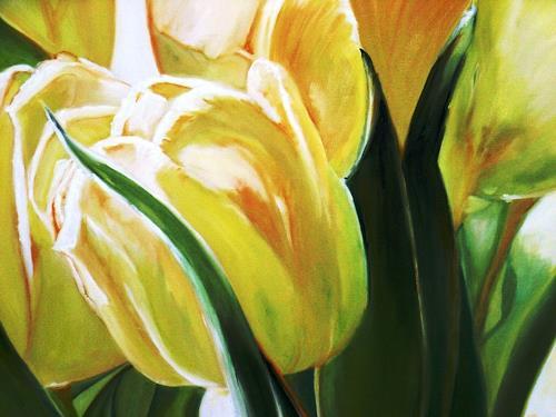 Anne Petschuch, Gelbe Tulpe, Pflanzen: Blumen, Natur, Realismus, Expressionismus