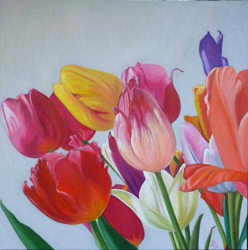 Anne Petschuch, Bunte Tulpen I, Pflanzen, Pflanzen: Blumen, Realismus, Expressionismus