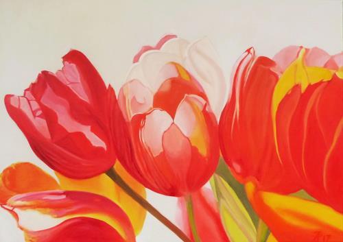 Anne Petschuch, Tulpen 04, Pflanzen: Blumen, Pflanzen, Realismus, Expressionismus