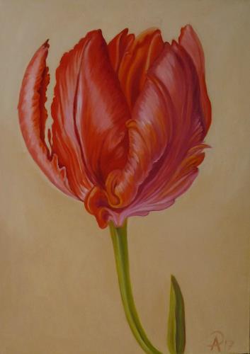 Anne Petschuch, Tulpe 05, Pflanzen, Pflanzen: Blumen, Realismus, Expressionismus