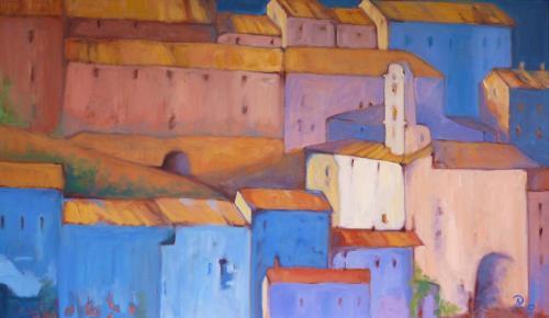 Anne Petschuch, Bergdorf in Italien III, Architektur, Diverse Bauten, Impressionismus