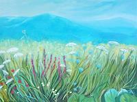 Anne-Petschuch-Landschaft-Berge-Pflanzen-Blumen-Moderne-Impressionismus-Neo-Impressionismus