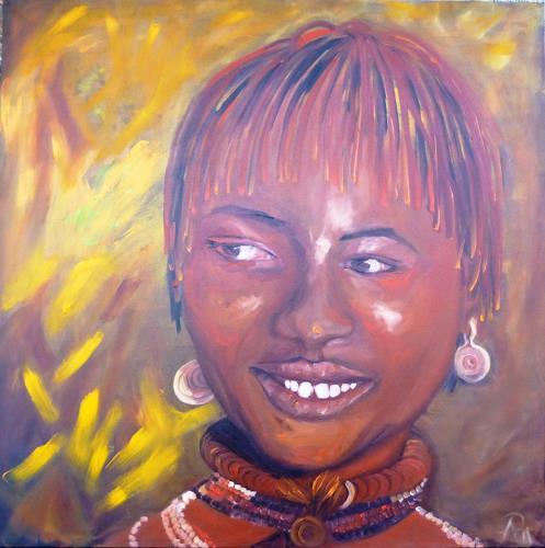 Anne Petschuch, Afrika I, Menschen, Menschen: Frau, Impressionismus