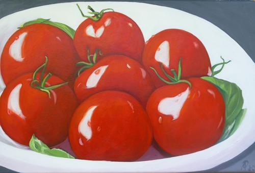 Anne Petschuch, Tomaten 4, Essen, Stilleben, Realismus